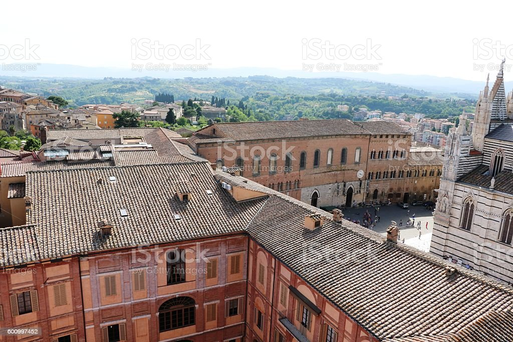 View to Piazza del Duomo in Siena, Italy stock photo
