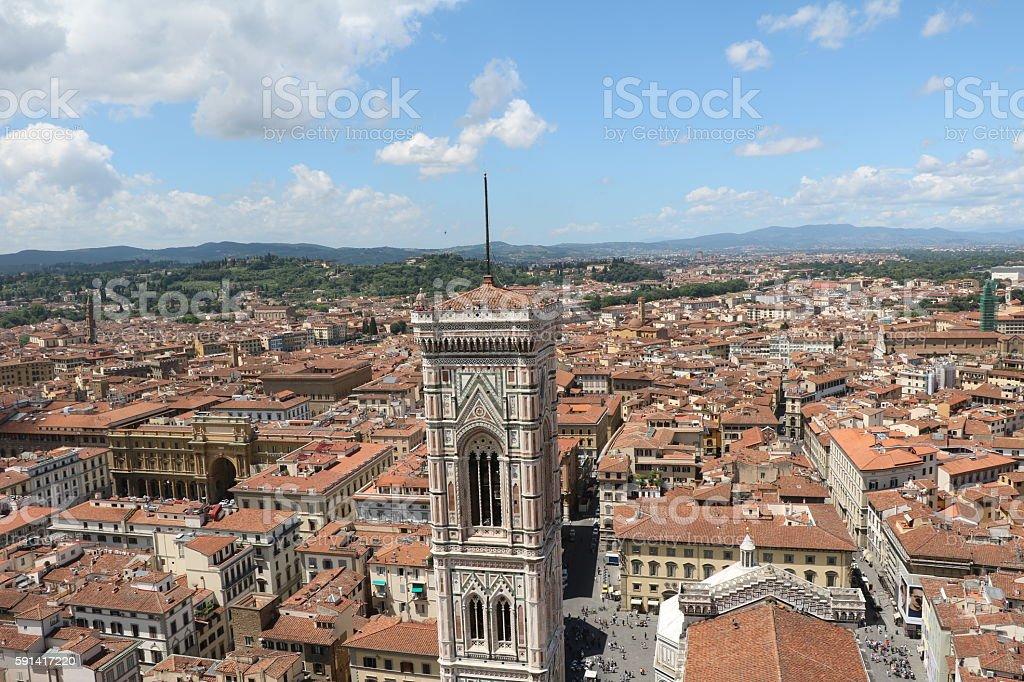 View to Piazza della Republica and Campanile Giotto, Florence Italy stock photo