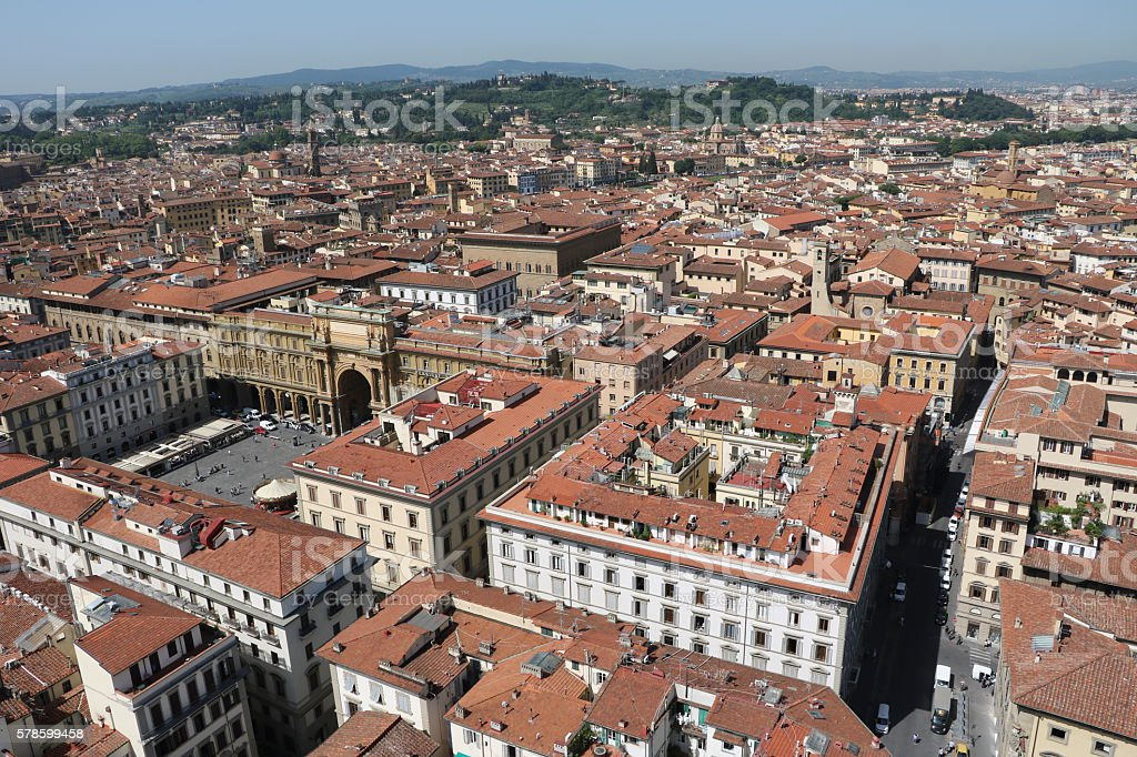 View to Piazza della Republica in Florence, Tuscany Italy stock photo
