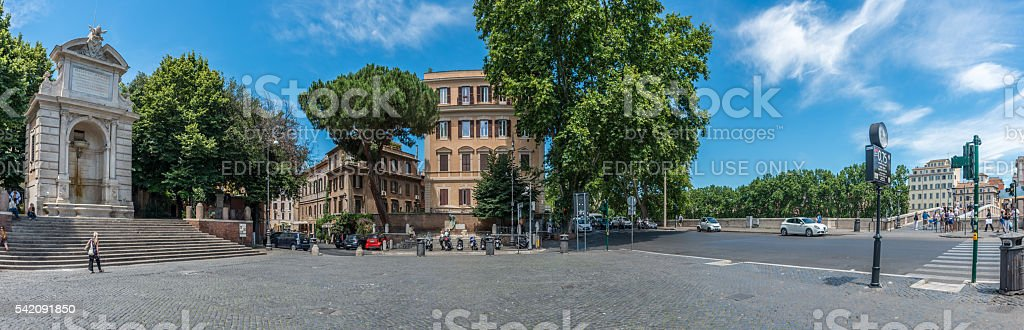 View to Piazza Trilussa in Trastevere, Rome stock photo