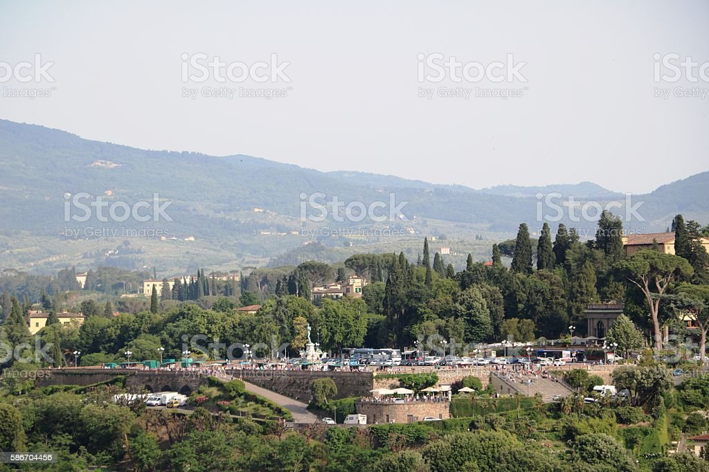 View to Piazzale Michelangelo from Palazzo Vecchio, Florence Italy stock photo