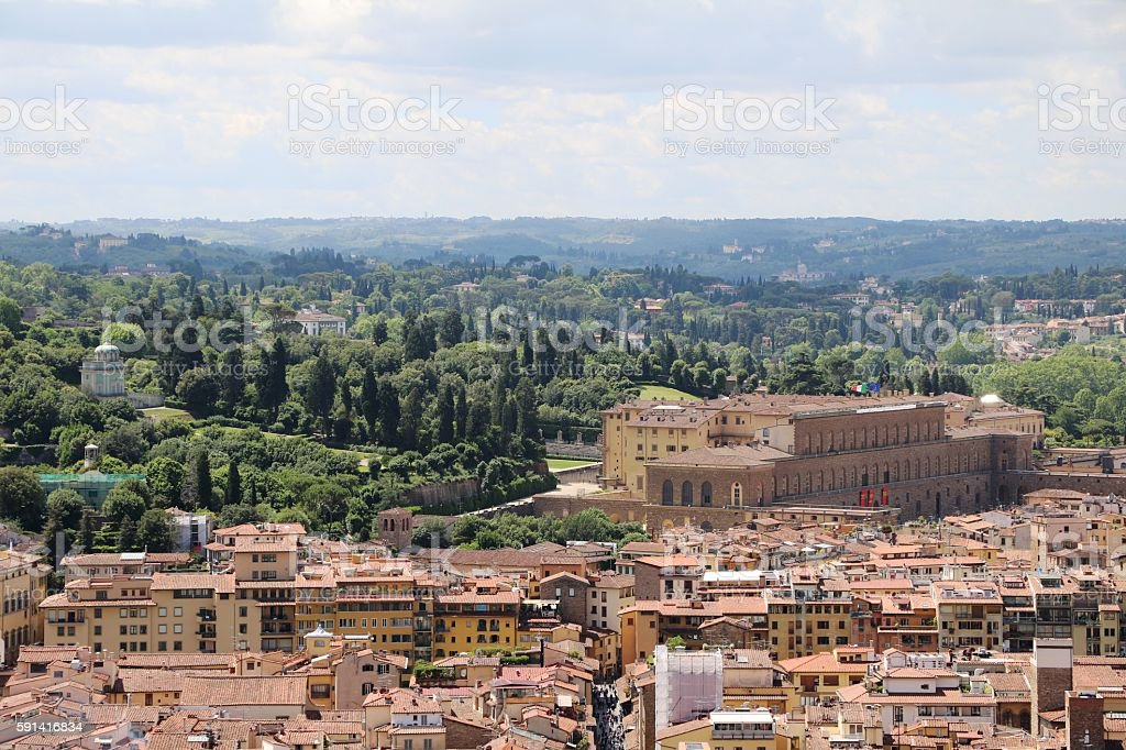 View to Pitti Palace and Boboli garden in Florence Italy stock photo