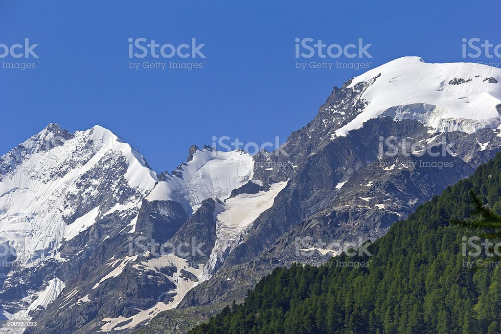 View to Piz Bernina, Switzerland stock photo