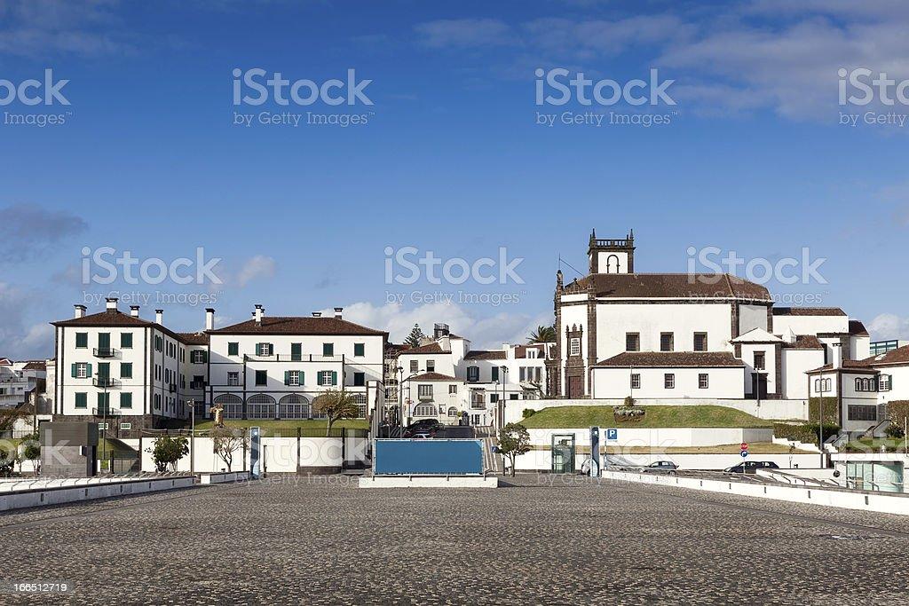 View to Ponta Delgada city stock photo