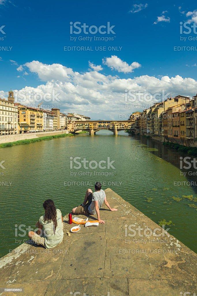 View to Ponte vecchio Florenz stock photo