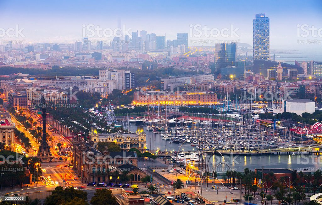 View to Port Vell at Barcelona in night stock photo