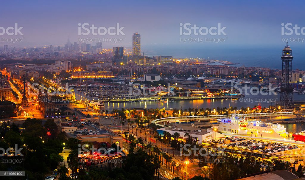View to Port Vell of Barcelona in night stock photo