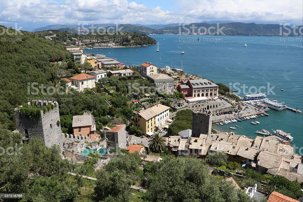 View to Porto Venere on Ligurian Sea from Fortress, Italy stock photo