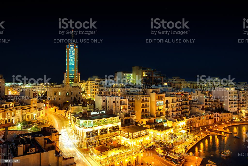 View to Portomaso tower at night stock photo