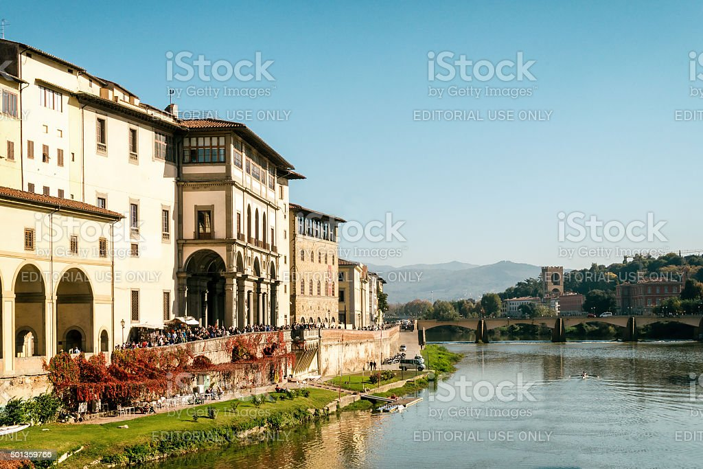 View to River Arno from Ponte Vecchio stock photo