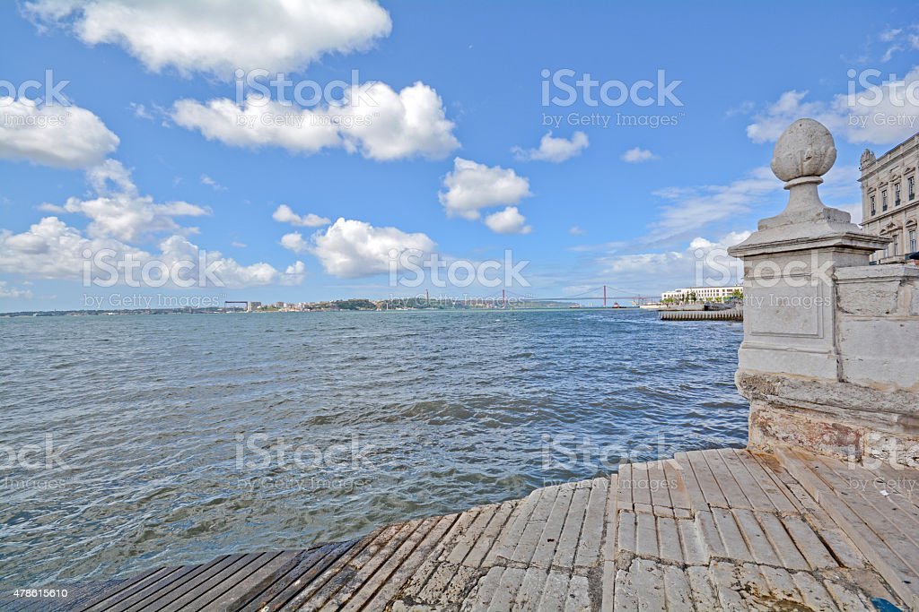 View to river Tagus near Cais das Colunas, Lisbon Portugal stock photo
