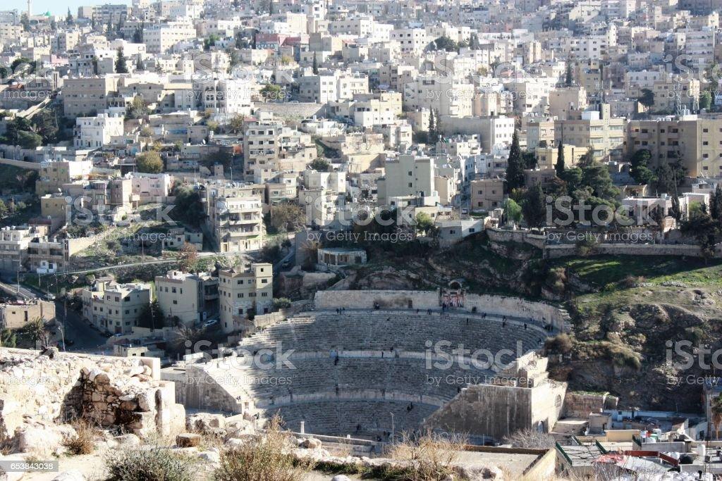 View to Roman Theater from Citadel in Amman, Jordan stock photo