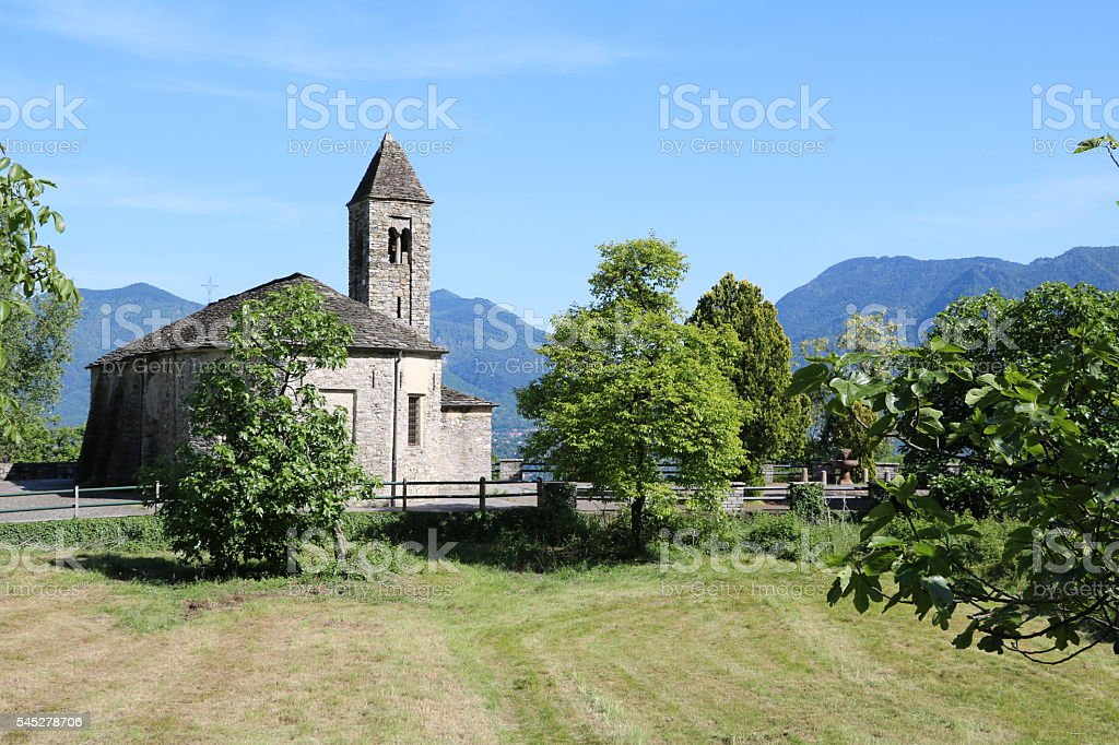 View to romanesque Chiesa Sant'Agata from12th century Oggebbio Novaglio, Italy stock photo