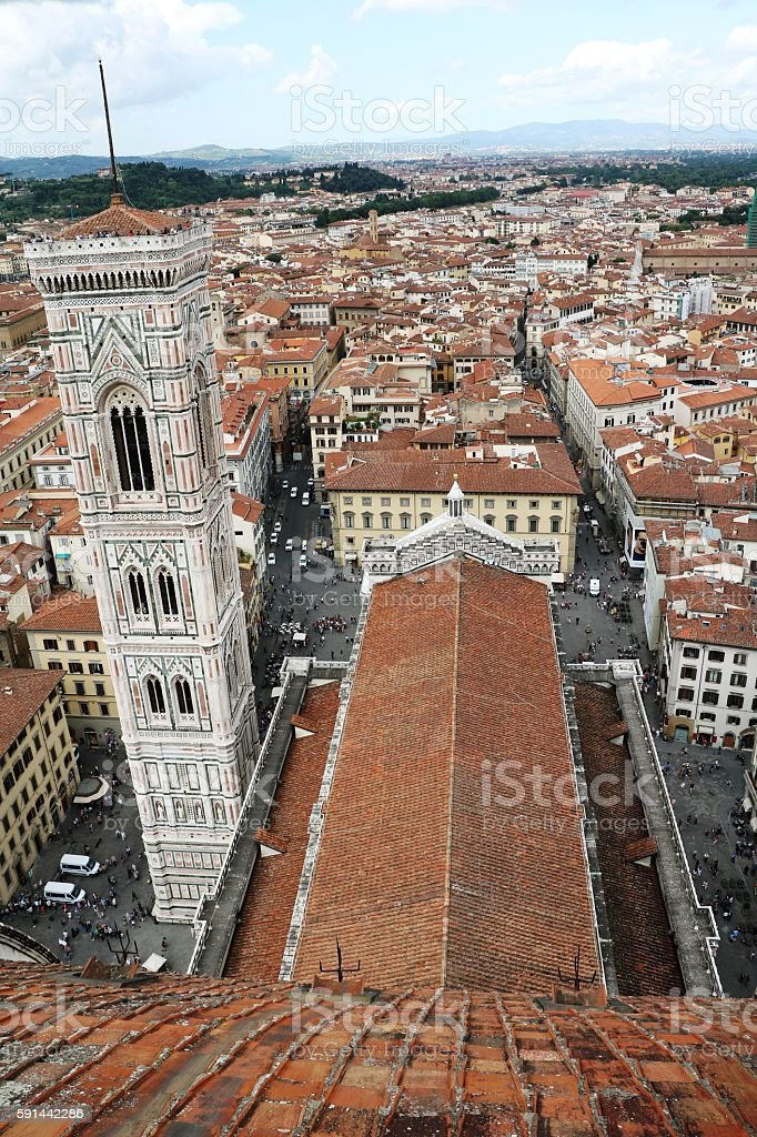 View to roof  Duomo Santa Maria and Giotto's Campanille, Florence stock photo