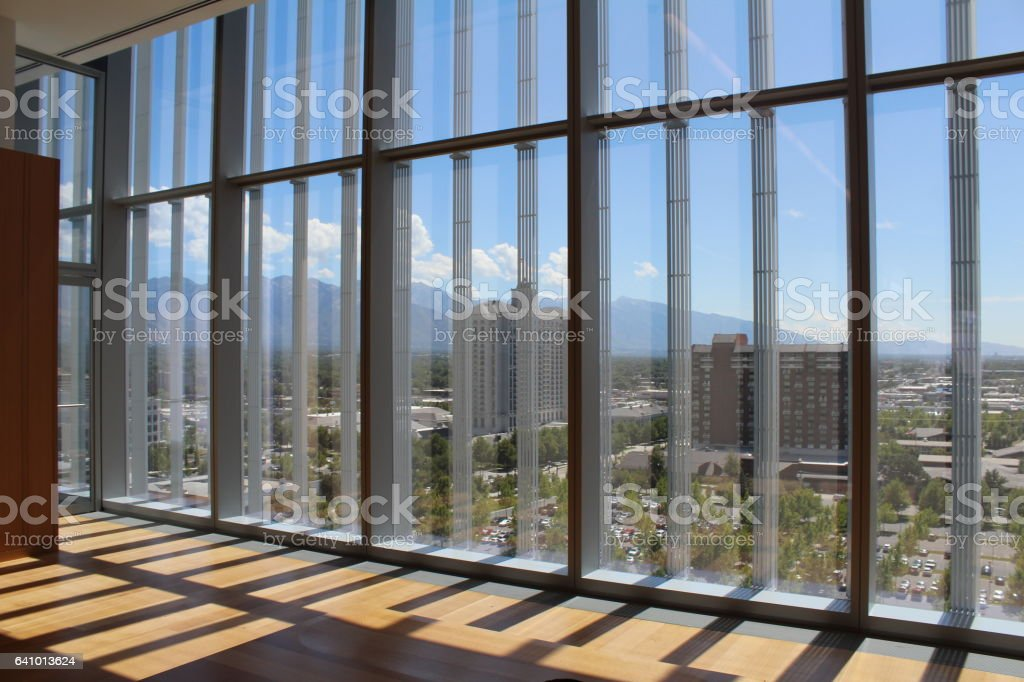 View to Salt Lake City from big office windows stock photo