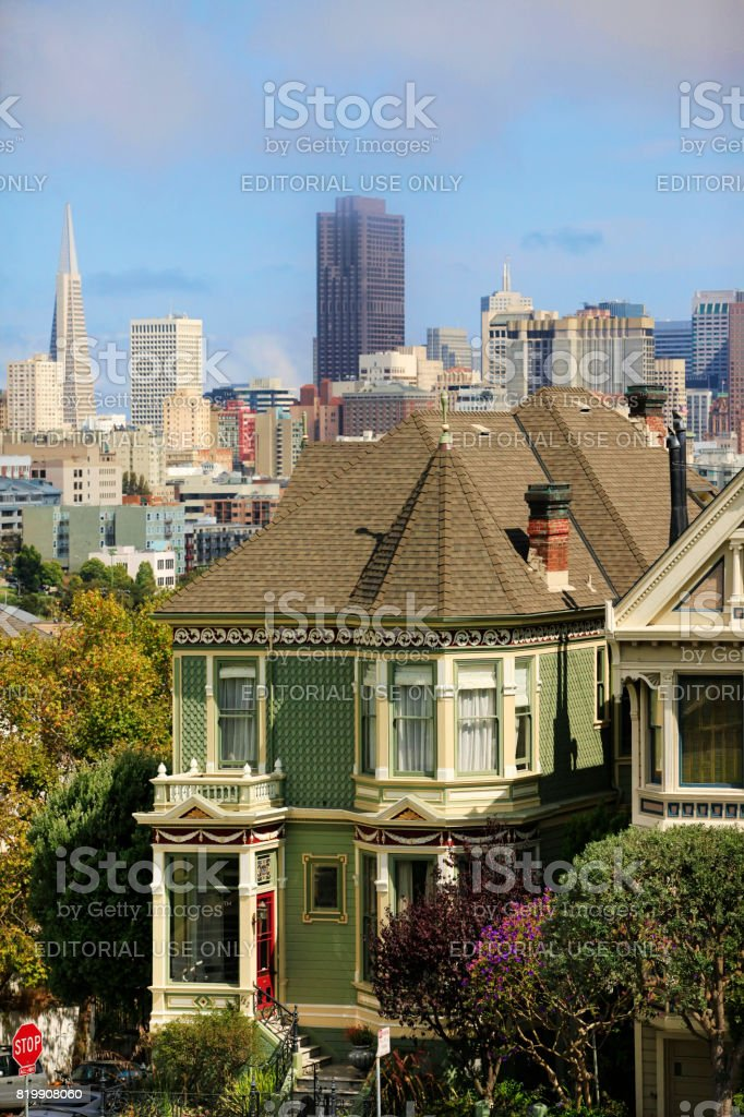 View to San Francisco with Alamo Square stock photo