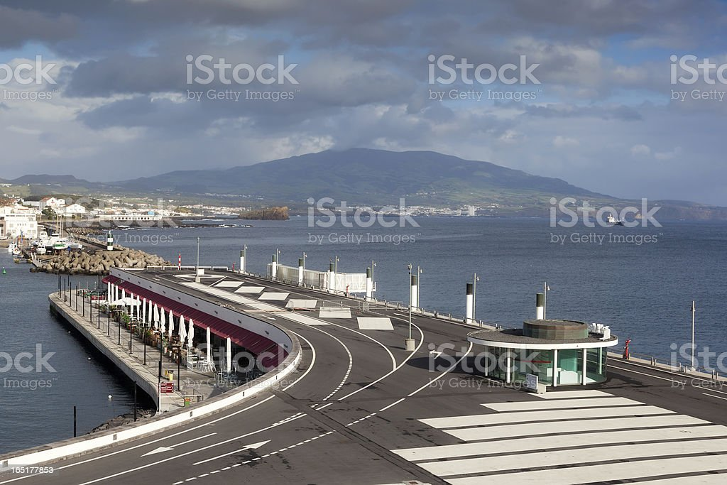 View to San Miguel island from Ponta Delgada marina stock photo