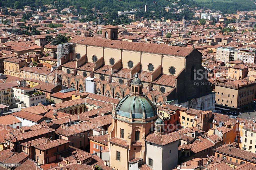View to San Petronio Basilica, Santa Maria della Vita, Bologna stock photo
