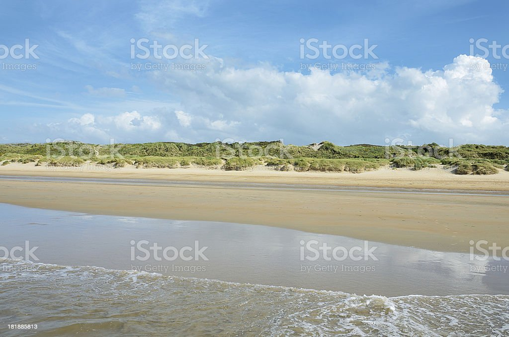 View to Sand Dunes with marram grass from ocean surf royalty-free stock photo