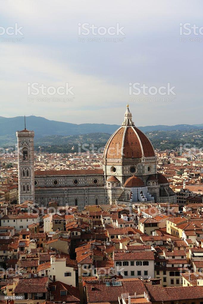 View to Santa Maria, Giotto's Campanile from Palazzo Vecchio, Florence stock photo