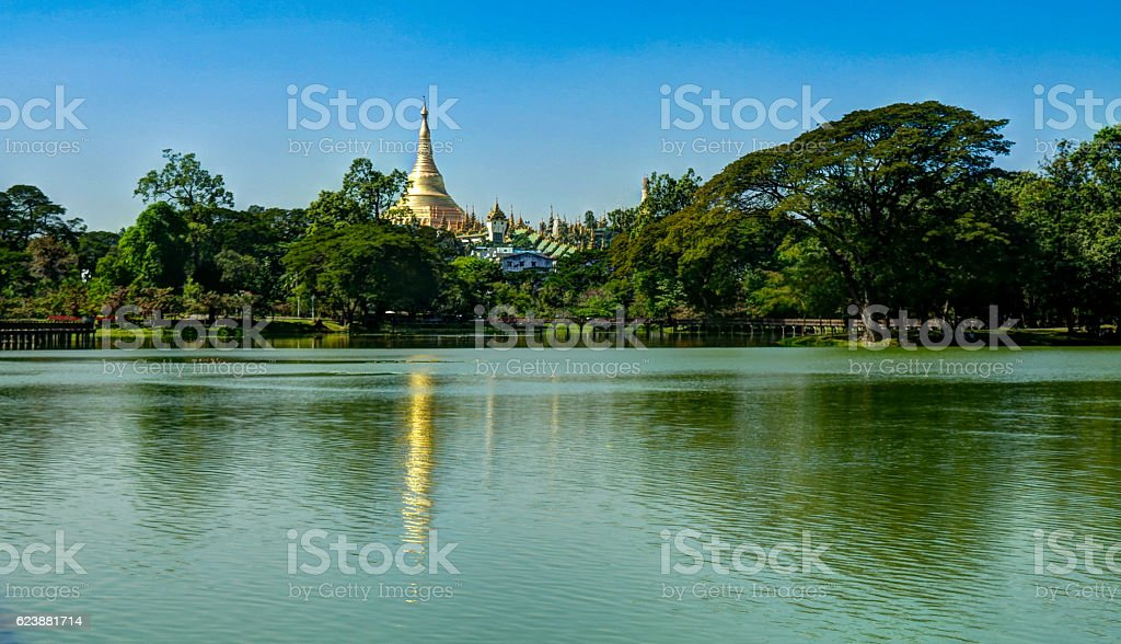 View to Shwedagon pagoda from Kandawgyi Lake, Yangon Myanmar stock photo