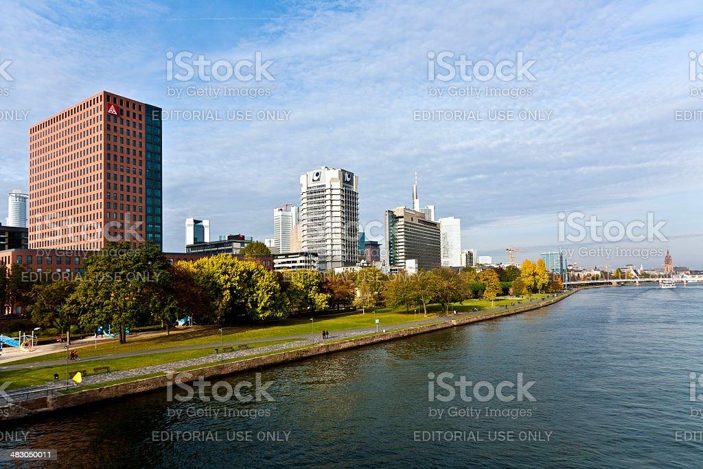view to skyline of Frankfurt stock photo