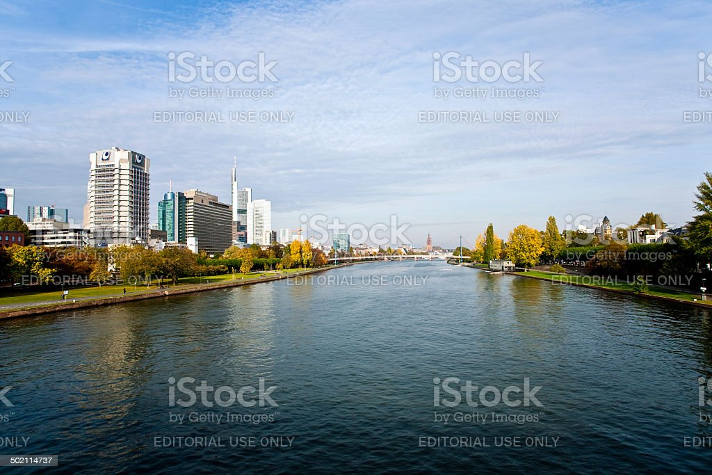 view to skyline of Frankfurt stock photo