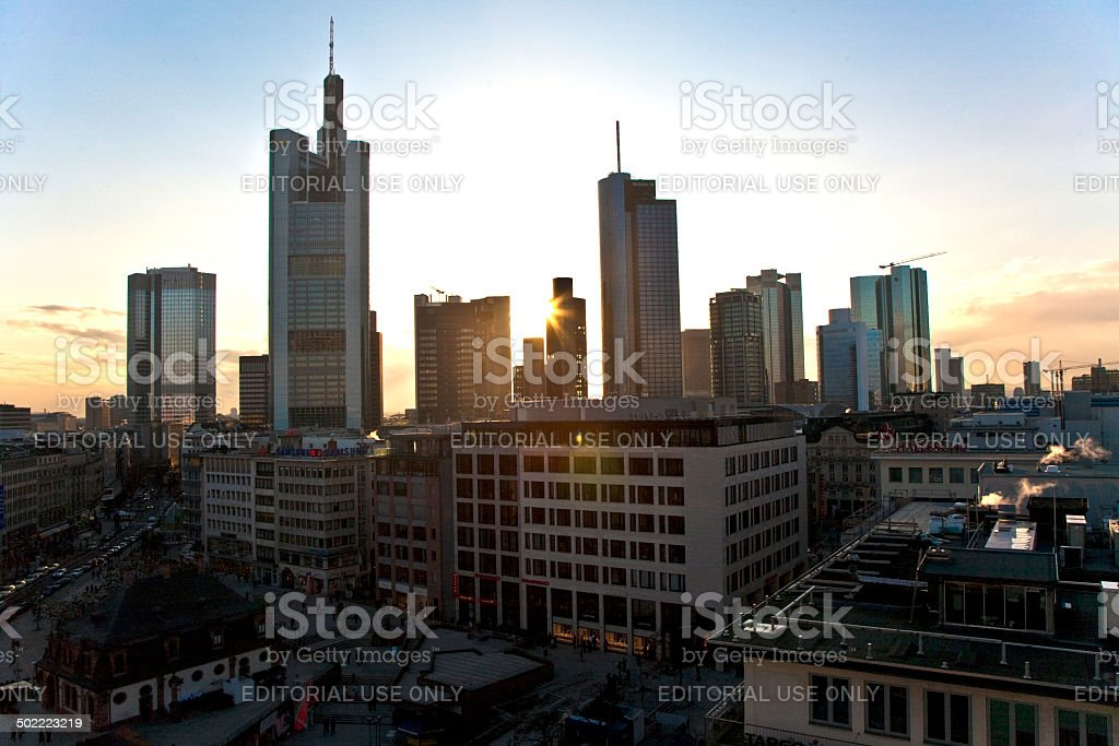 view to skyline of Frankfurt with Hauptwache stock photo