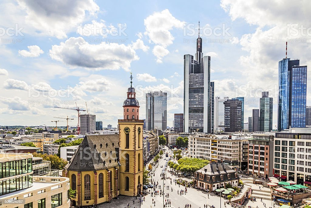 view to skyline of Frankfurt with Hauptwache stock photo