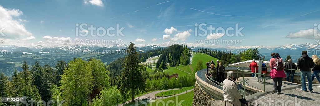 view to snow covered mountains in the alps at Pfander stock photo