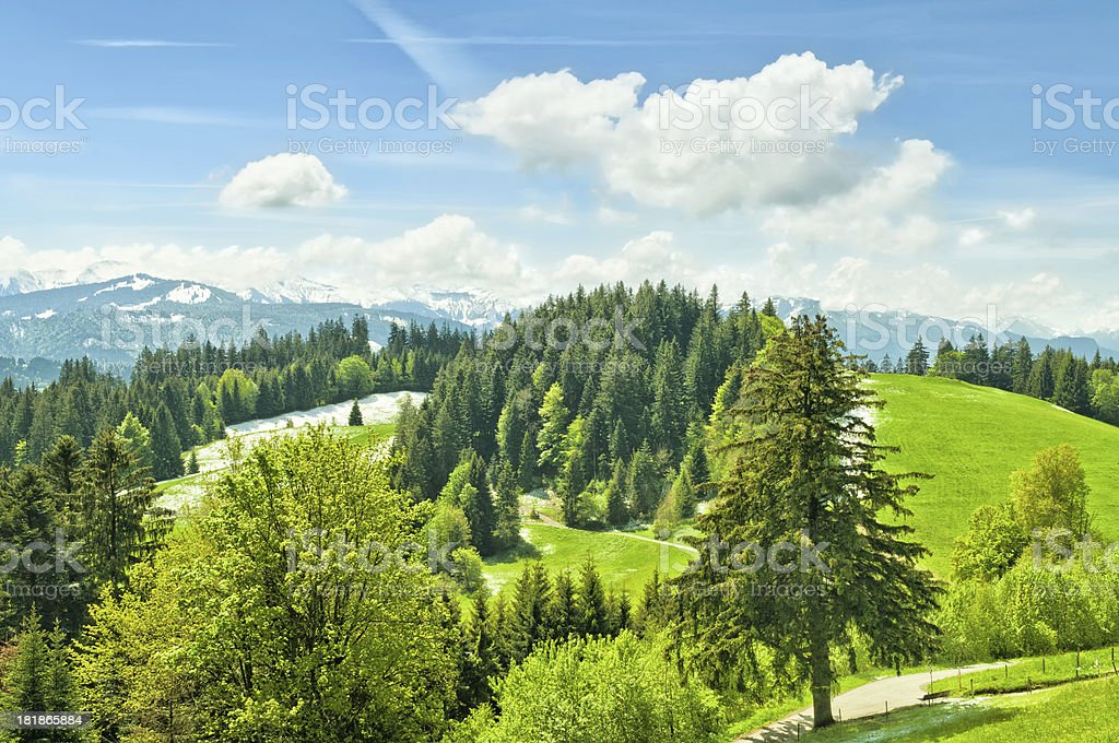 view to snow covered mountains in the alps stock photo