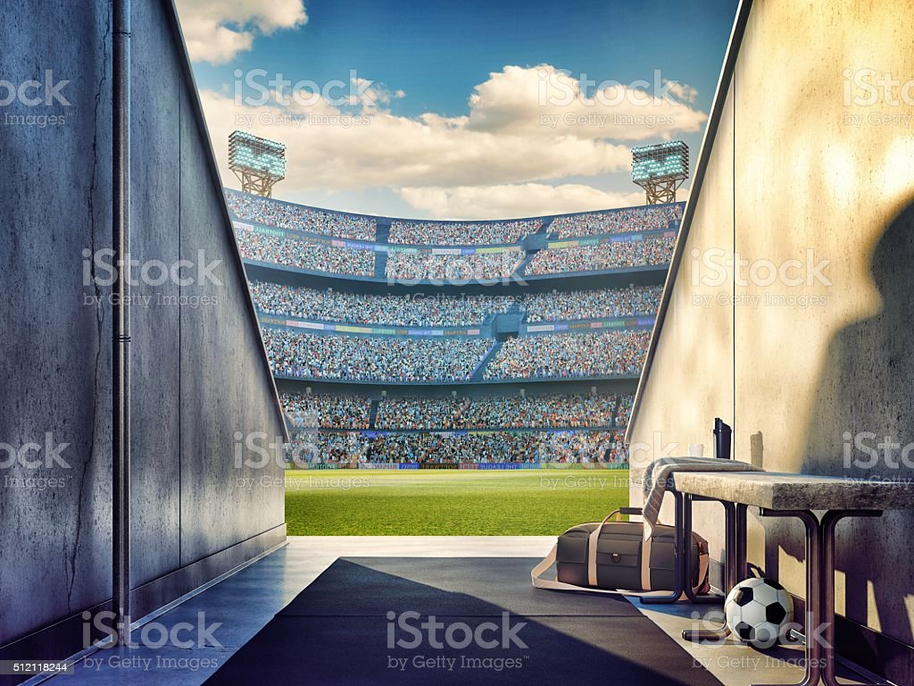 View to soccer stadium from players zone stock photo