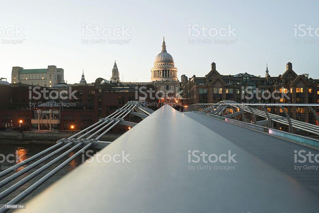 View to St Pauls from Millenium Bridge in London stock photo