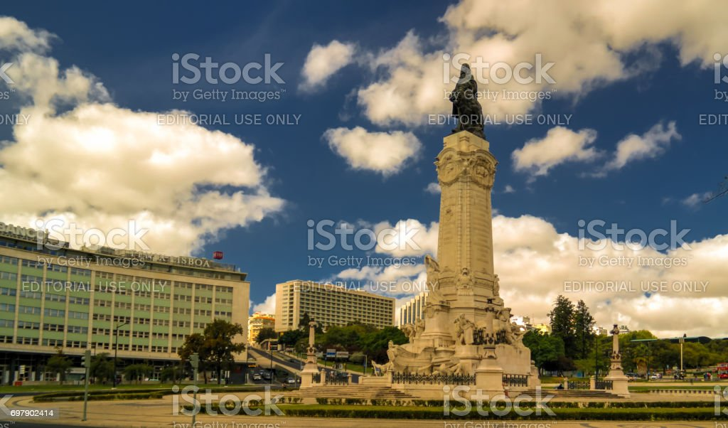 View to statue of Marques de Pombal, Lisbon, Portugal stock photo