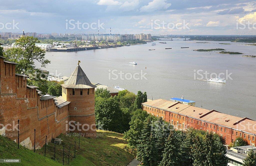 View to Strelka from Nizhny Novgorod Kremlin in Russia stock photo
