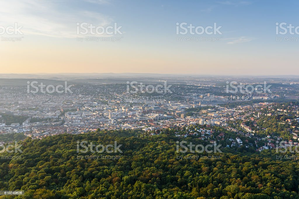 View to Stuttgart city in Germany - beautiful landscape stock photo