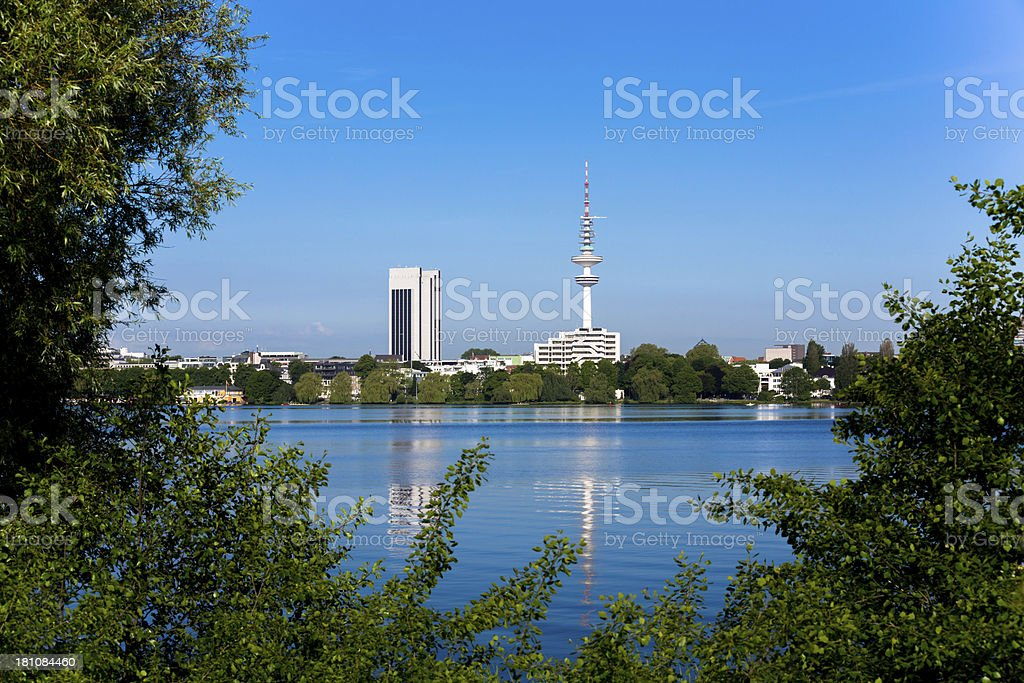 View to the alster lake stock photo