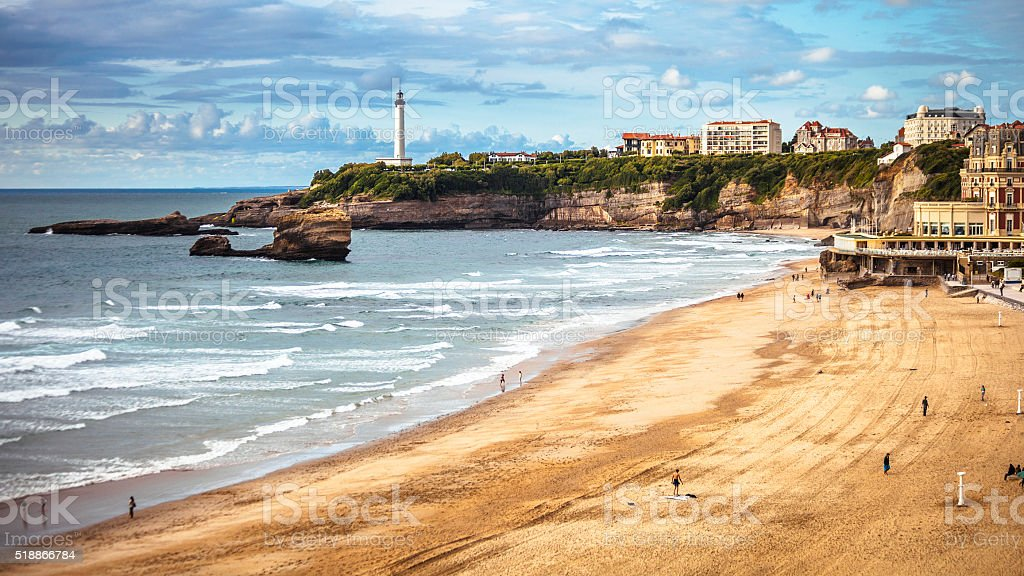 View to the beach. Biarritz, France. stock photo