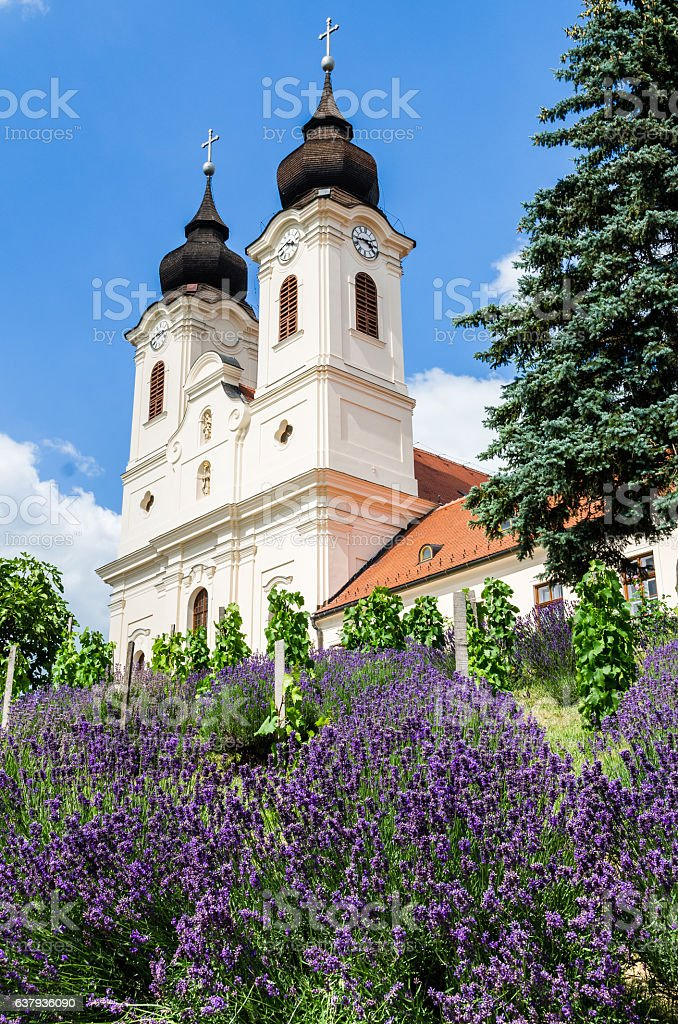 View to the benedictine abbey in Tihany stock photo