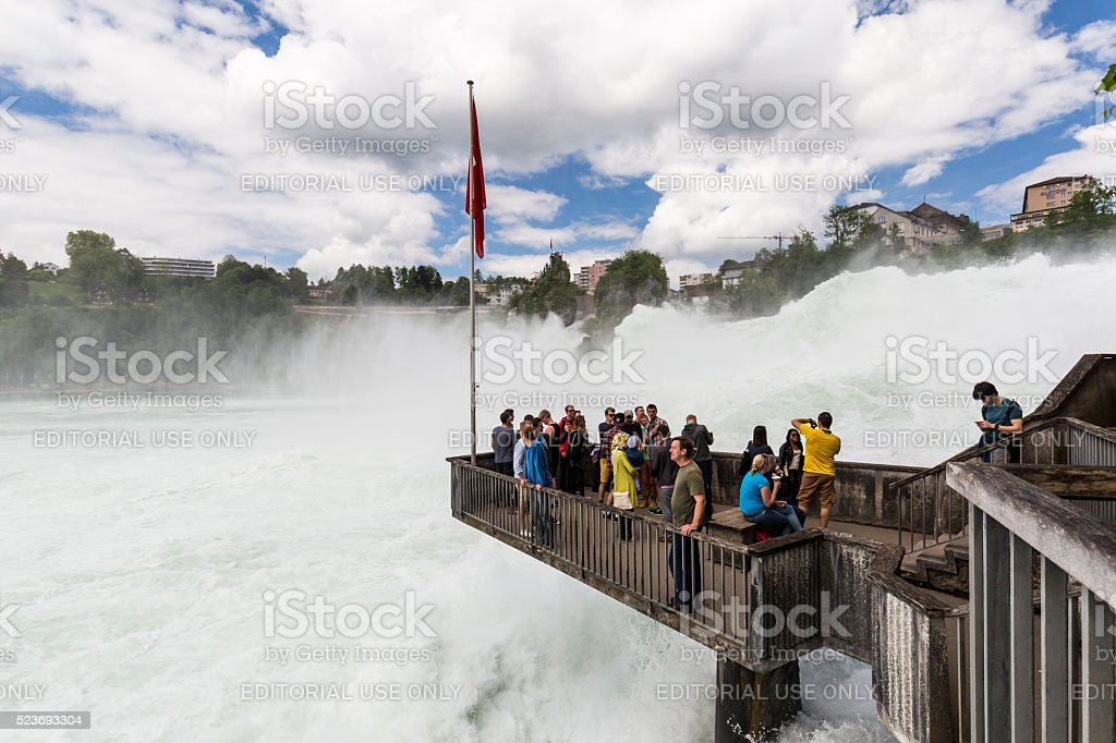 View to the biggest waterfalls of Europe stock photo