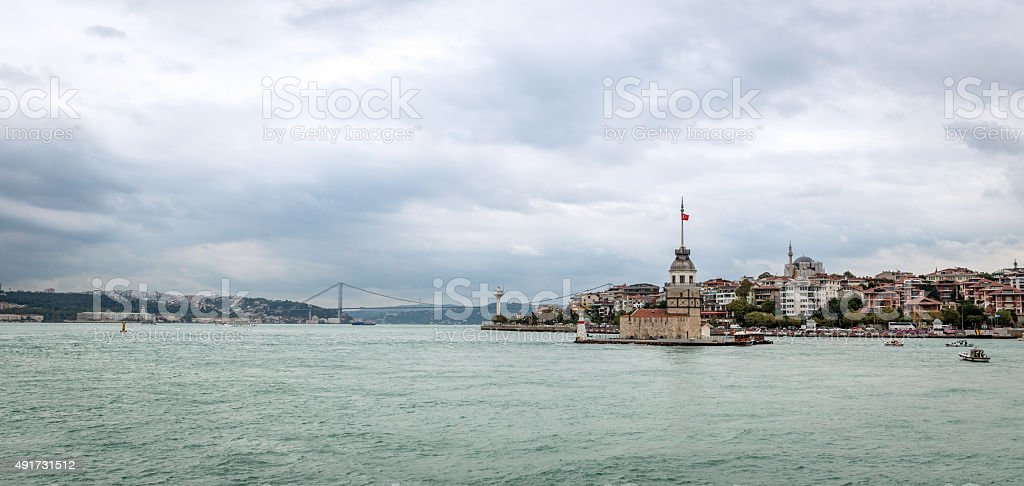 View to the Bosphorus and Maiden's Tower stock photo