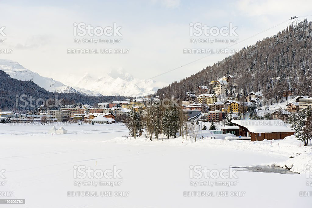 View to the buildings of St. Moritz, Switzerland. stock photo