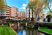 View to the Canal of Perpignan in springtime