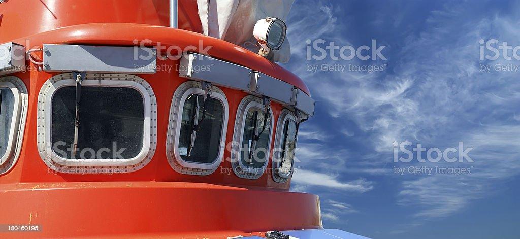 View to the captain bridge on ship royalty-free stock photo