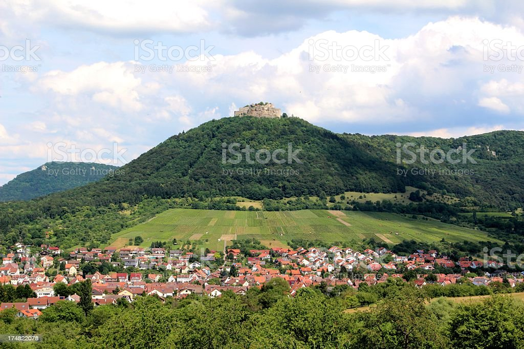View to the castle Hohenneuffen stock photo