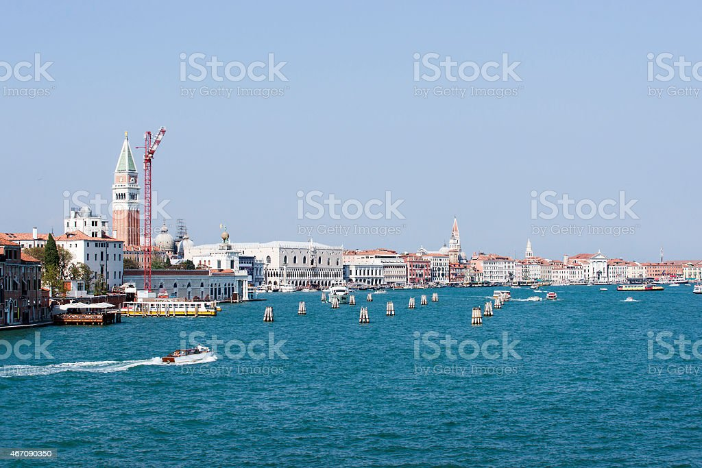 View to the city center and water traffic in Venice stock photo