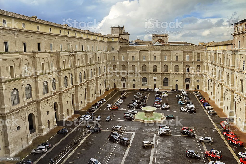 View to the courtyard of museum complex in Vatican royalty-free stock photo