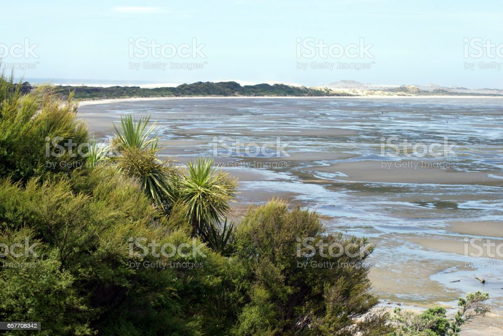 View to the Farewell Spit, Tasman District, New Zealand stock photo