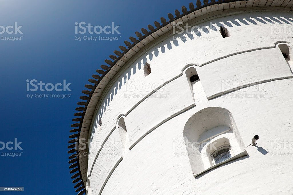 View to the fortress wall of Rostov Kremlin stock photo