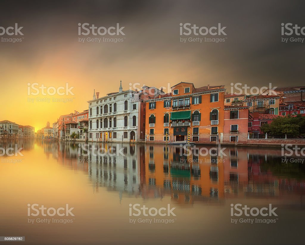 View to the grand canal and Academy in Venice stock photo